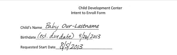 Daycare form