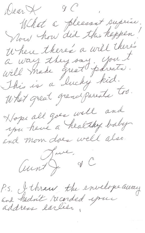 Inside of Aunt J's card