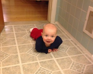 crawling into bathroom